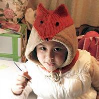 看图仿织 仿外网儿童棒针火狐狸帽子