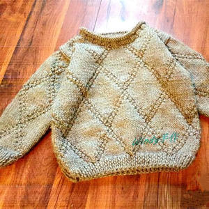 卡布基诺 简单大方粗针织男童棒针套头毛衣