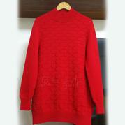 鸿运 送妈妈的简约花纹棒针自带袖红毛衣
