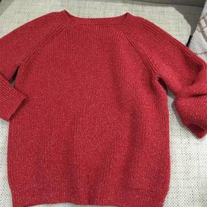 红色亮丝单元宝女士棒针插肩毛衣