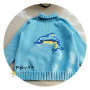 蓝色之约 简约经典男童棒针海豚图案小燕子插肩套头毛衣