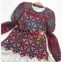 费雯丽羊毛蕾丝女士钩织结合套头毛衣