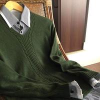 家有男儿 双股细线编织男士经典V领羊绒衫