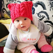 軟萌萌嬰幼兒四股棉棒針貓耳朵帽