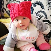 软萌萌婴幼儿四股棉棒针猫耳朵帽