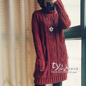 暖歌 温暖复古女士高领棒针麻花连衣裙