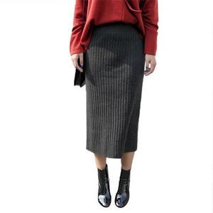 懿 超显瘦女士棒针双罗纹直筒半身长裙