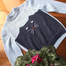 蓝小猫 反差萌猫咪图案儿童棒针拼色套头毛衣