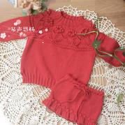 紅果果 從上往下織經典紅色奶棉女童棒針編織套裝