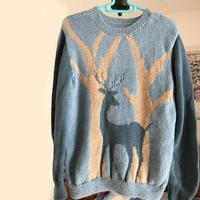 小鹿皎皎 纵向配色编织男孩棒针小鹿毛衣