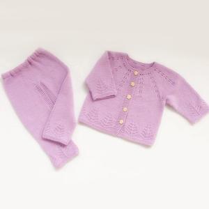 幸运树 从上往下织新生儿毛衣套装(婴儿小开衫+开裆裤)