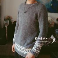 山水画 日式简约男士棒针提花插肩套头毛衣