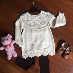樱花 甜美可爱钩织结合儿童A摆裙式毛衣
