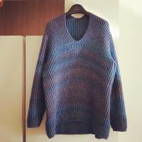 欧美时尚街拍款 经典流行女士棒针廓形V领毛衣