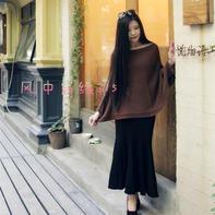 云柔真丝羊毛咖啡色简约大气女士棒针蝙蝠罩衫