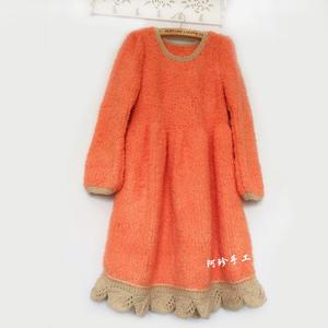 美叶缘 成人款绒绒灯笼泡泡笼袖棒针毛衣裙