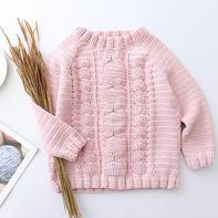 暖暖 儿童钩针麻花插肩袖毛衣编织视频教程(2-2)