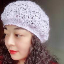 女士钩针拼花镂空花贝雷帽
