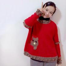 旧时光 可织亲子装女士棒针可爱宽松套头毛衣