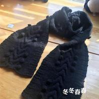 黑色球球  简单厚实女士棒针马海毛大围巾
