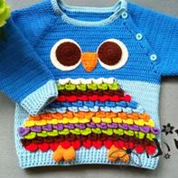 男女宝宝通用的卡通猫头鹰儿童钩针插肩上衣