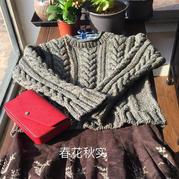 忐忑 女士棒针复古麻花套头毛衣