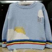 雨滴彩虹女童棒針套頭毛衣