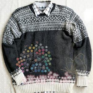 麦田 双手带线编织毛线球款男士棒针提花毛衣