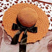 不需要定型的雪纱带女士钩针太阳帽