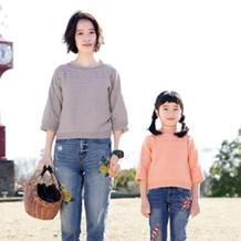 简单好织横织亲子母女七分袖春秋衫