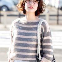 2018春夏新款女士棒针条纹直袖毛衣
