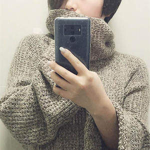 大牌中性色休闲宽松慵懒范女士棒针套头毛衣