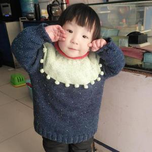 看图仿衣 儿童棒针拼色球球套头毛衣