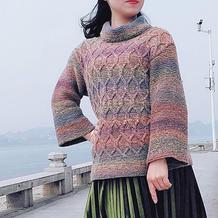 梨花颂 段染民族风女士棒针微喇袖高领毛衣