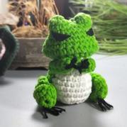 用毛线编织一款蛙儿子 钩针旅行青蛙编织视频