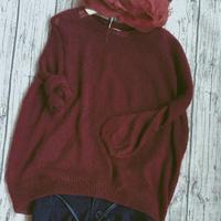 轻薄勃艮第酒红女士棒针长袖马海毛衣