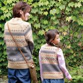 妈妈的毛衣宝宝的背心 粗针织亲子款经典棒针提花羊毛衫