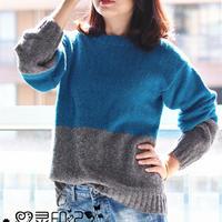 桑田 圈织羊毛圈圈线女士棒针拼色毛衣