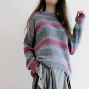 烟霞 一字船领女士棒针彩虹条纹套头毛衣