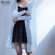 时尚大气蝙蝠袖镂空女士钩针长款外套开衫