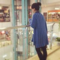 半菱蓝 时尚休闲手工编织女士棒针套头毛衣