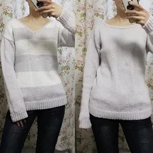 可前后两穿适合新手编织的简约女士棒针条纹V领毛衣