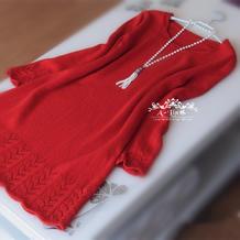 火翎 女士棒针蕾丝花边大红连衣裙