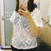 小清新 毛线球2017夏174期小清新镂空套头衫