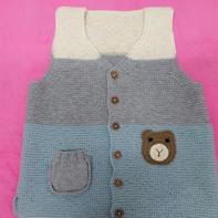 儿童棒针三色小熊马甲背心编织说明