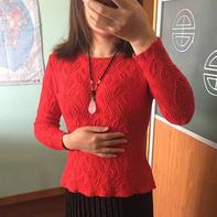 魅红 有浮雕效果的女士棒针叶子图案长袖毛衣