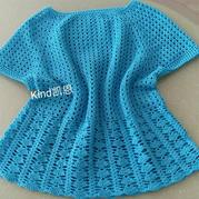 蓝晶 从上往下钩女士钩针插肩袖菱形小格套头衫