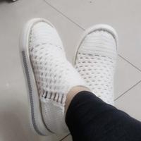 尼龙空心线钩编夏季白色网眼休闲鞋编织教程