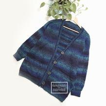 暖暖 段染线编织女士棒针宽松长开衫教程