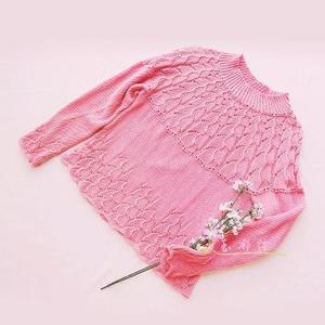 志田春夏从下往上织女士棒针圆育克套头毛衣